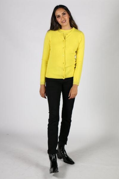 Coster Cashmere Cardi In Chartreuse