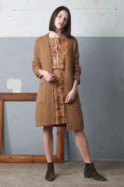 Indi & Cold Slouch Cardi In Camel