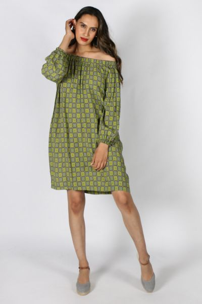 Eccentrica Off Shoulder Geometric Dress