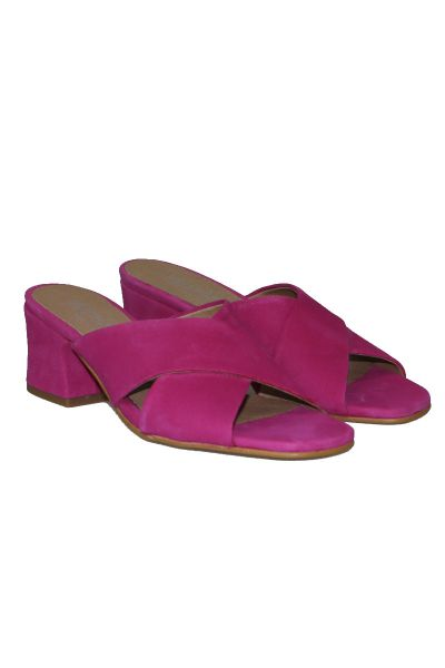 Suede Crossover Slide By Igualados In Fuchsia