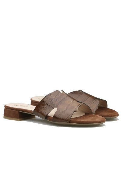 Cut Out Slide By Quait In Taupe Croc