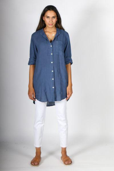 Talia Benson Mandarin Shirt In Blue
