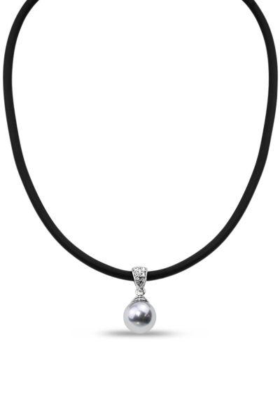 Jantan Pearl Pendant Nelklace In Grey