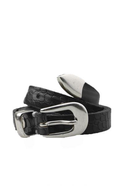 Skinny Croc Belt In Black By B.Belt