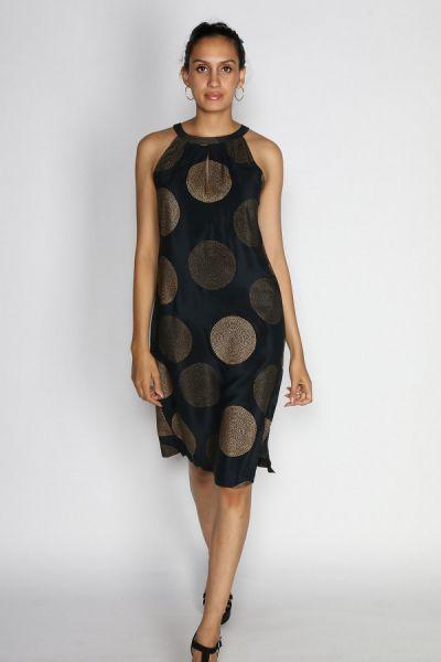 Black Silk Halter Neck Dress By Rasa