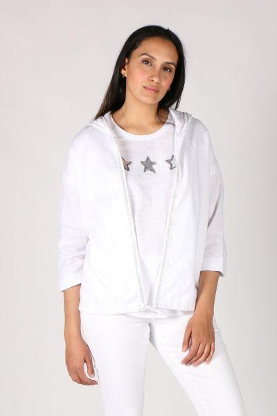 Jump Linen Hoddie In White