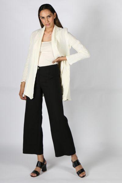 Anna Hoffmann Tailored Linen Wide Leg Pant In Black