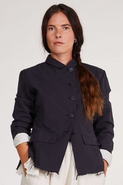 Baci Frayed Edge Jacket In Navy