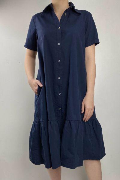 Baci Shirt Dress In Navy