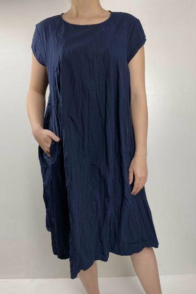 Baci Crinkle Dress In Navy