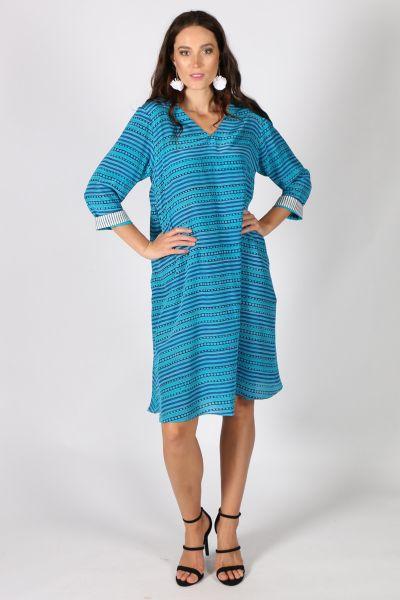 Asana Stripe Dress Blue By Anupamaa
