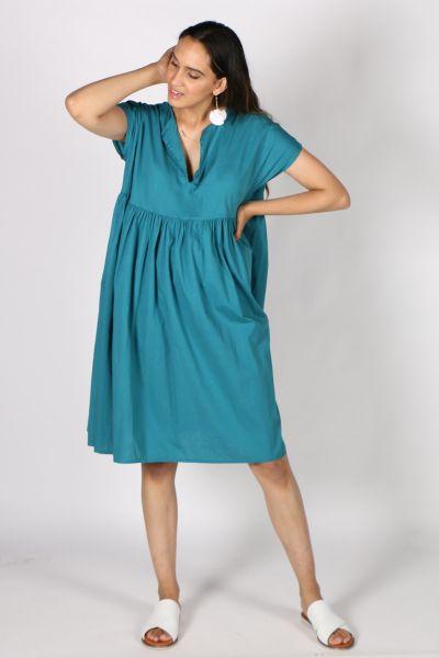 Talia Benson Cotton Summer Dress In Teal