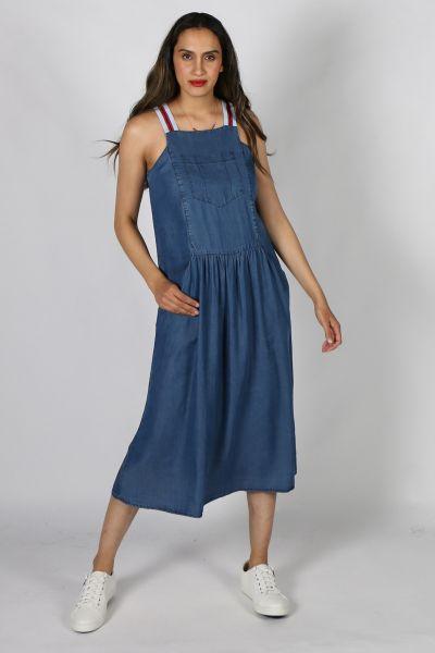 Eccentrica Dungaree Dress in Blue