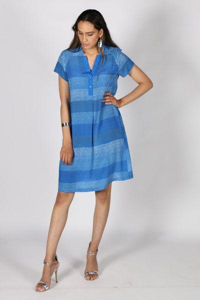 Printed Rasa Mali Bhil Dress In Cobalt