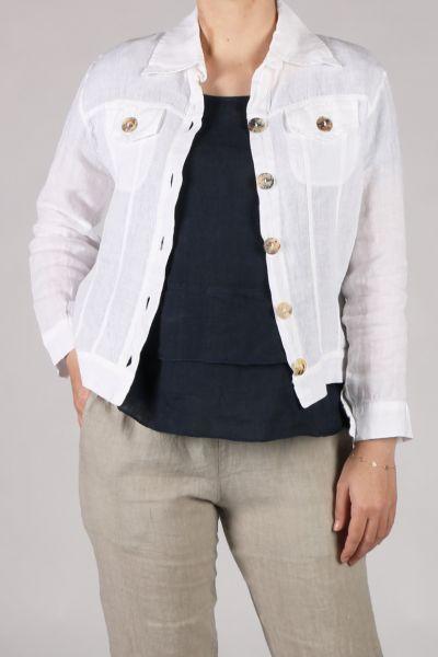 Blueberry Linen Jacket In White