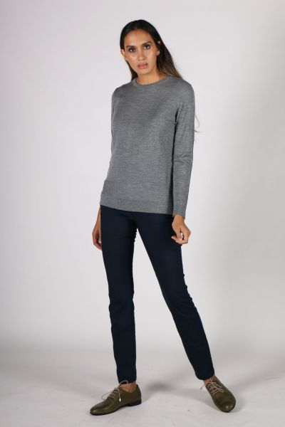 Fields Round Neck Jumper In Charcoal