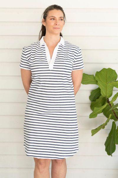 Cloth Paper Scissors Stripe Rugby Dress In Navy