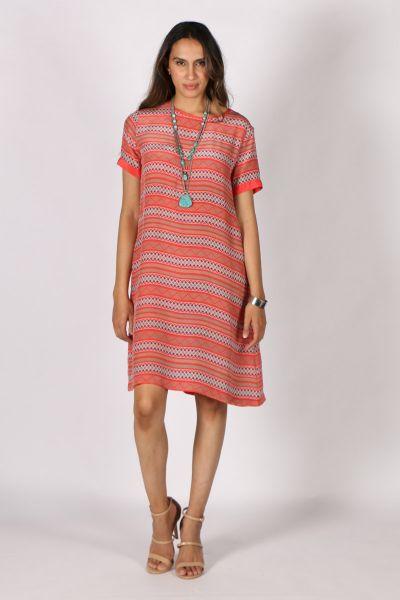 Printed Rasa Sella Teda Dress In Coral