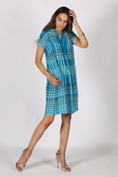 Printed Rasa Mali Meda Dress In Teal