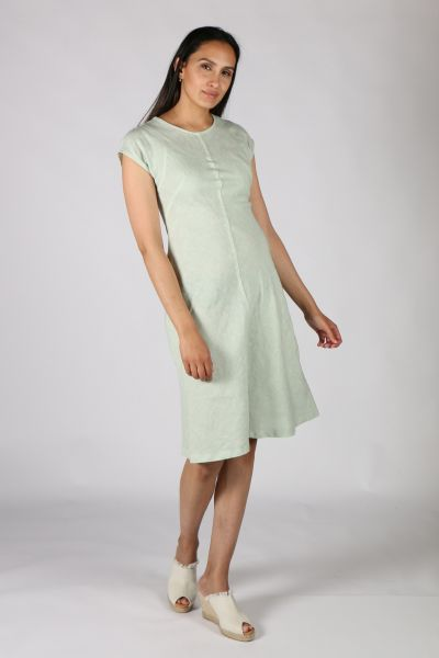 Haris Cotton Flare Dress In Green
