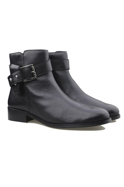 Quait Leather Wrap Ankle Boot in Black