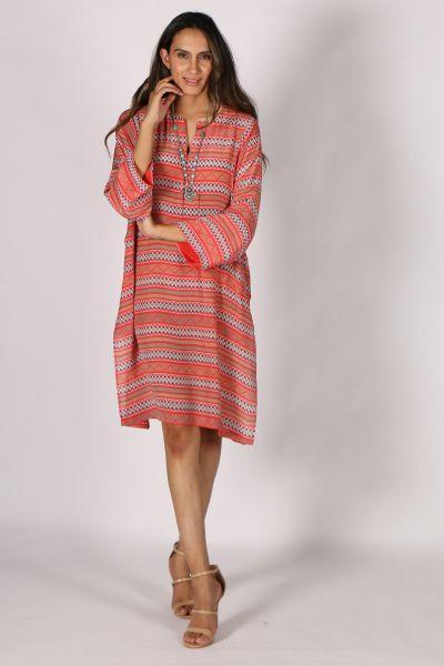 Printed Rasa Manu Teda Dress In Coral