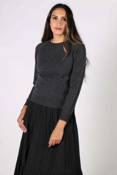 POL Knitted Abbey  Jumper In Charcoal