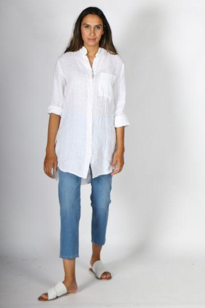 Talia Benson Mandarin Shirt In White