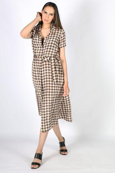 Printed Rasa Sara Chatt Dress In Khaki