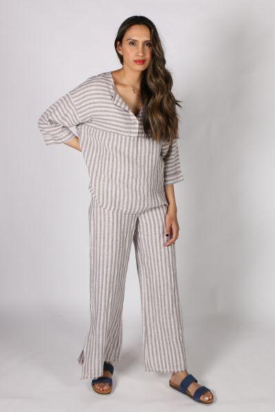 XCVI Striped Pant In Almond