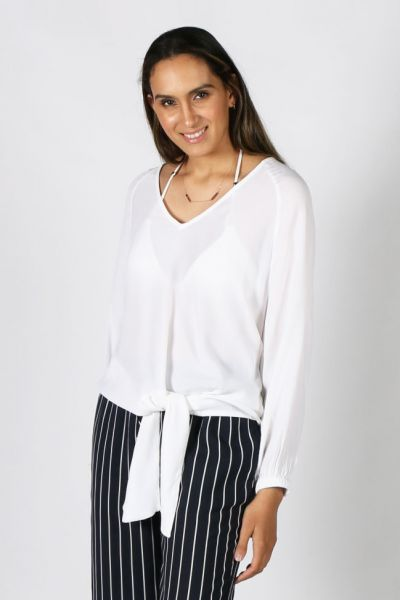 Humidity Tie Up Top in White