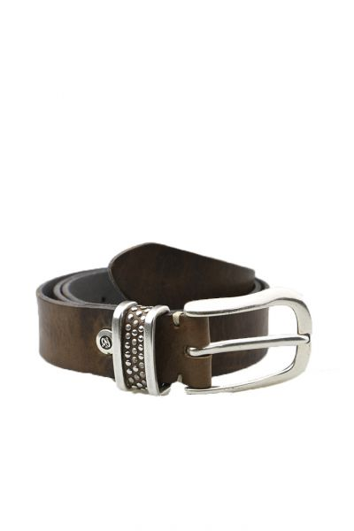 Distressed Leather Belt By B.Belt In Taupe