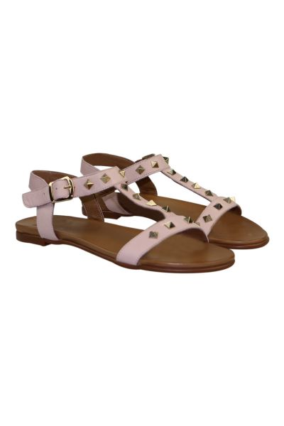 Studded T Bar Sandal By P Grande In Natural