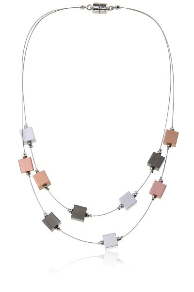 Jantan Cube Layered Necklace In Multi