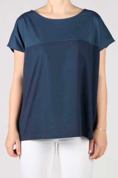 Etici Panelled Tee In Navy