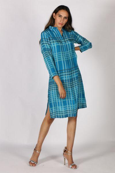 Printed Rasa Rajput Meda Dress In Teal
