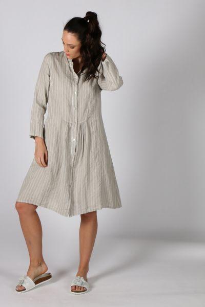 Talia Benson Striped Mandarin Collar Dress In Beige
