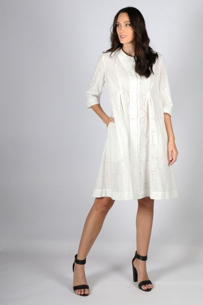 White Broderie Giselle Dress by Megan Salmon