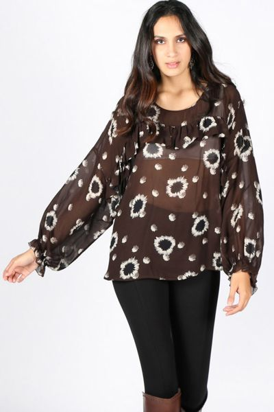 Printed Blouse With Ruffles By Ottod'Ame