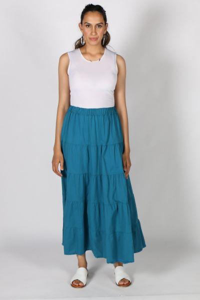 Talia Benson Tiered Cotton Skirt In Teal