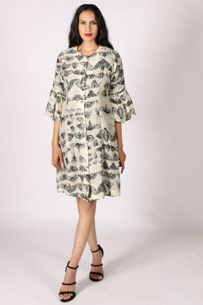 Moth Print Mary Coat by Megan Salmon