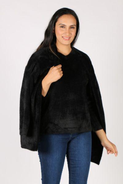 Fields Feather Knit Cardi In Black