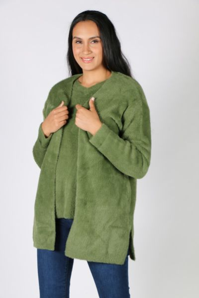 Fields Feather Knit Cardi In Cactus