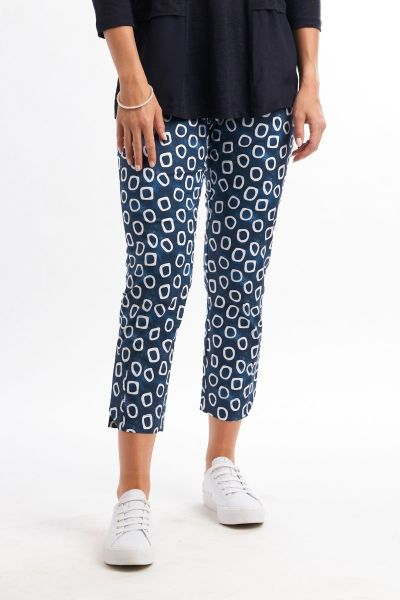 Foil Fuss Free Pant In Navy Bangle