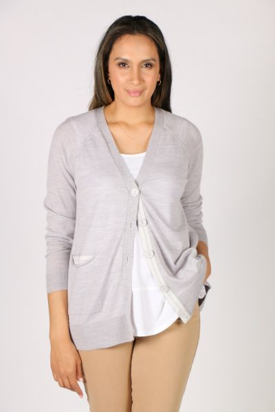 Foil Pocket This Cardi In Silver