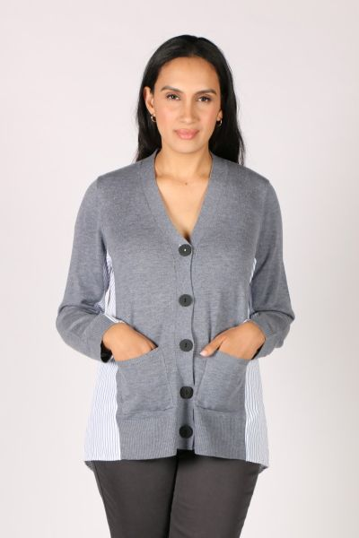 Foil Shirt Tales Cardigan In Chambray