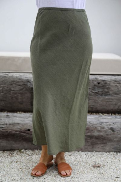 Goondiwindi Cotton Midi Skirt In Khaki