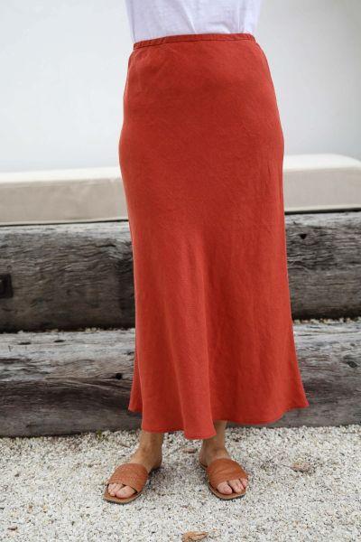 Goondiwindi Cotton Midi Skirt In Terracotta