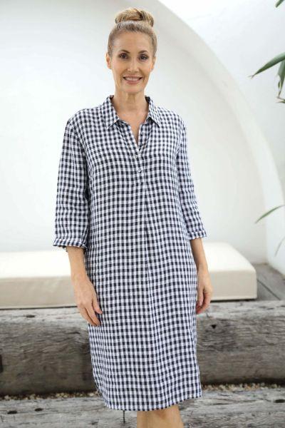 Goondiwindi Cotton Gingham Shirt Dress In Navy