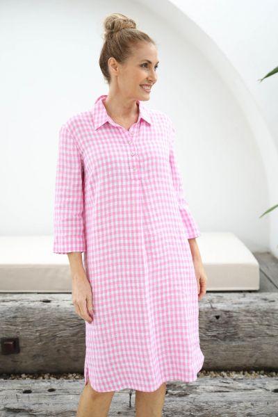 Goondiwindi Gingham Shirt Dress In Pink